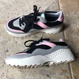 Retro Pastel Pink & Teal Color Block GoGo Sneakers